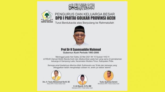 Prof DR H Syamsuddin Mahmud Meninggal Dunia, Golkar Aceh Turut Berduka Cita Mendalam