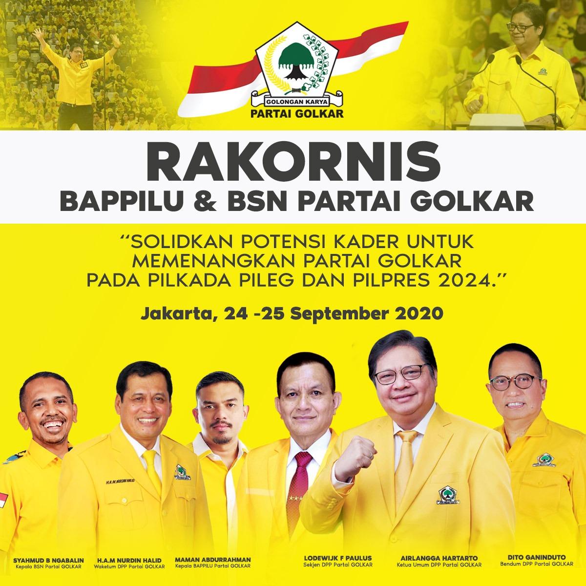 Panaskan Mesin Partai, Golkar Gelar Rakornis Bappilu dan BSN