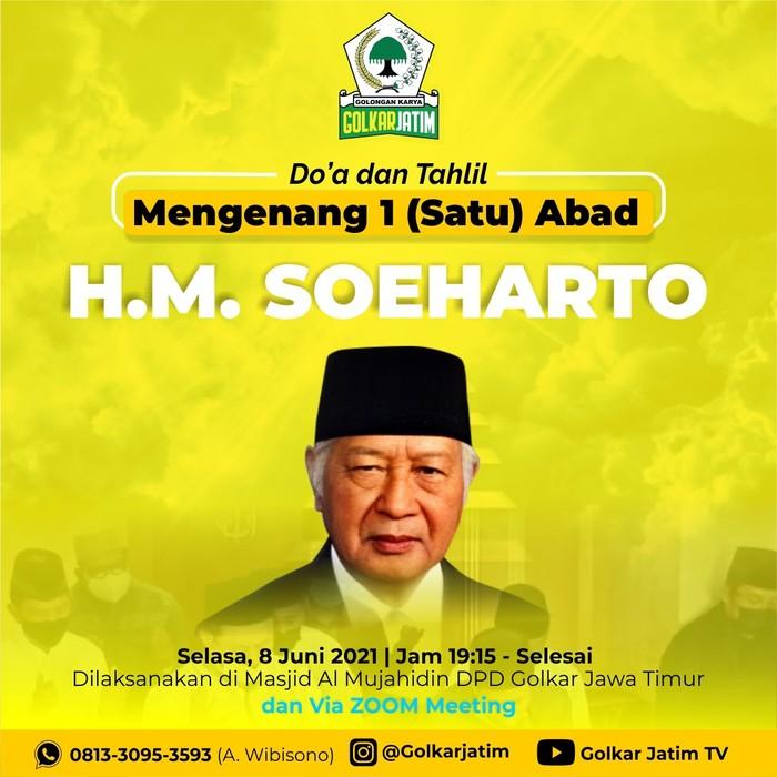 Gelar Doa dan Tahlil Kenang Seabad Soeharto, Golkar Jawa Timur: Mikul Dhuwur Mendhem Jeru