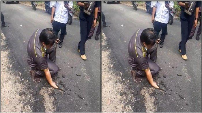 Yusran Effendi Heran Aspal Ruas Jalan Pulau Panggung Muaraenim Mudah Dikelupas Pakai Tangan