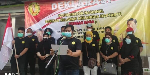 Gelar Deklarasi, Kornas Relawan BARA Optimis Airlangga Terpilih Sebagai Presiden 2024