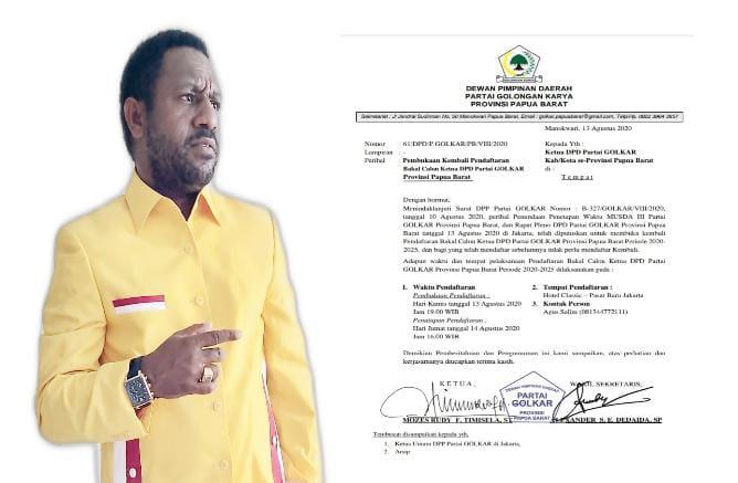 Golkar Papua Barat Buka Lagi Pendaftaran Balon Ketua, Alfons Manibuy Hingga Amin Ngabalin Daftar