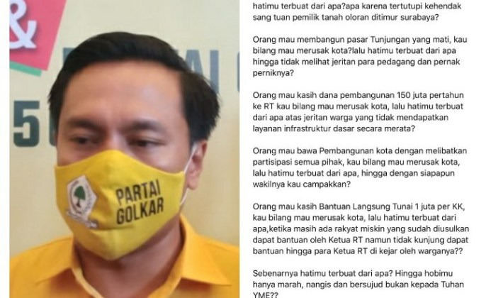 Mau Bangun Kota Surabaya Dibilang Akan Merusak, Arif Fathoni: Hatimu Terbuat Dari Apa?