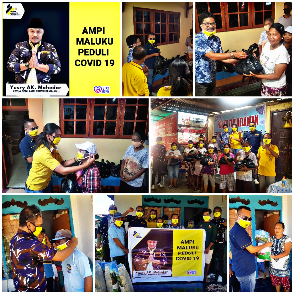 Ericson Betaubun Pimpin AMPI Maluku Bagikan Sembako dan Masker di Baguala dan Teluk Ambon