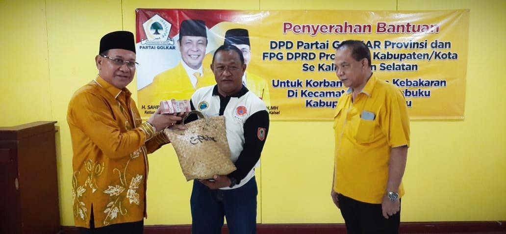 Fraksi Golkar DPRD Kalsel Patungan Santuni Korban Kebakaran Pulau Sebuku